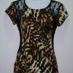 Snap Black Cheetah Print Bodycon Dress Mid Sz S